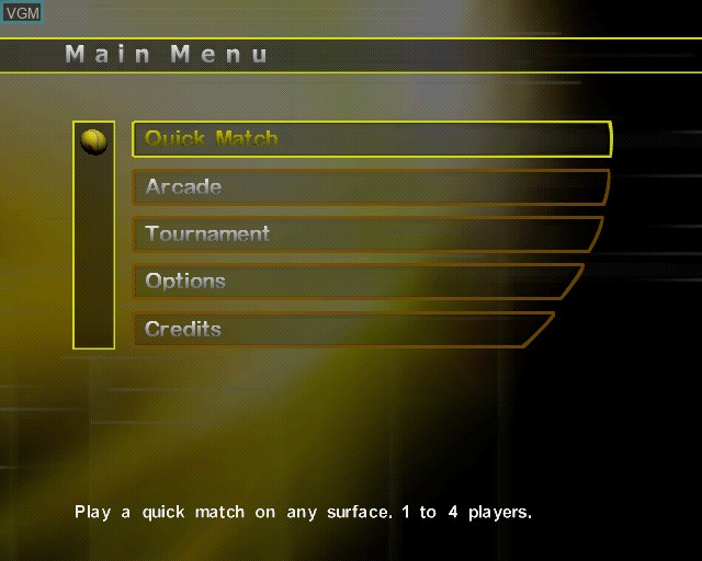 Menu screen of the game Agassi Tennis Generation on Sony Playstation 2