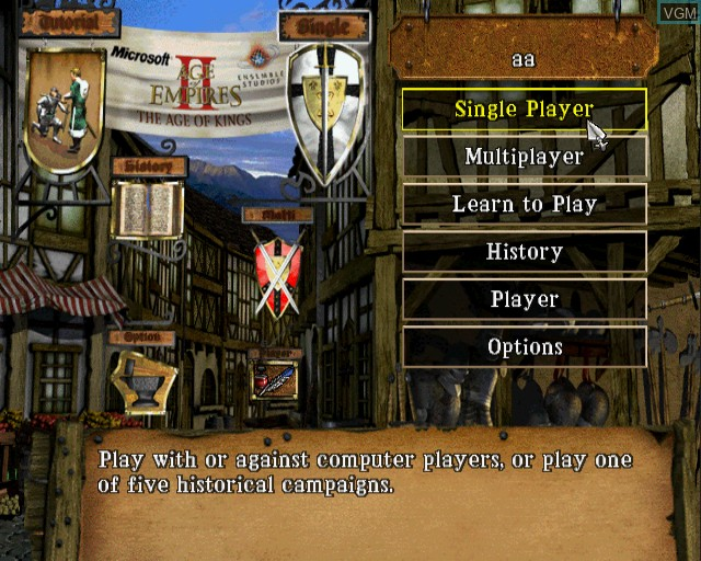 Menu screen of the game Age of Empires II - The Age of Kings on Sony Playstation 2