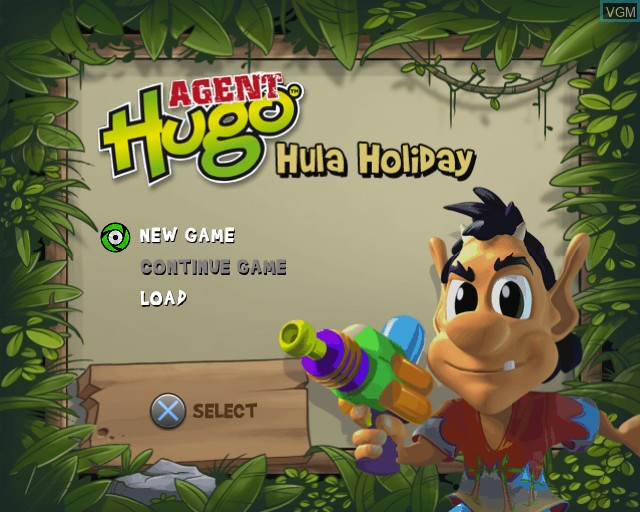 Menu screen of the game Agent Hugo - Hula Holiday on Sony Playstation 2