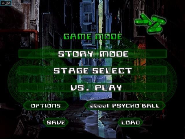 Menu screen of the game Akira Psycho Ball on Sony Playstation 2
