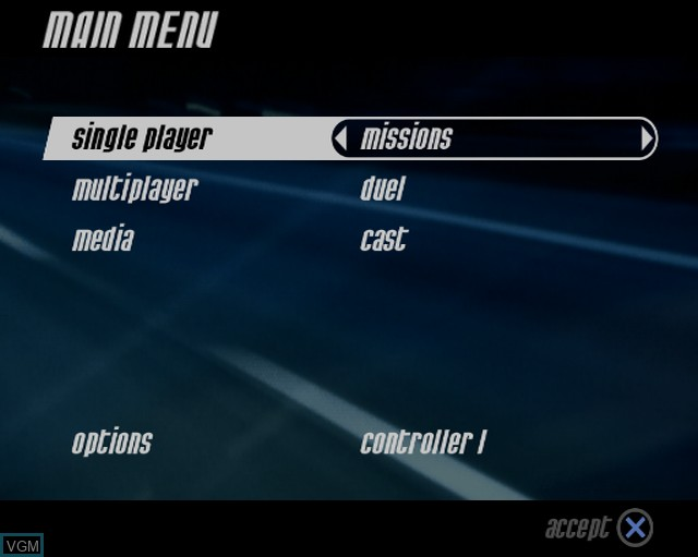 Menu screen of the game Alarm for Cobra 11 Vol. 2 - Hot Pursuit on Sony Playstation 2