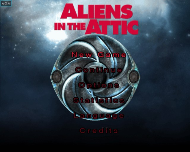 Menu screen of the game Aliens in the Attic on Sony Playstation 2