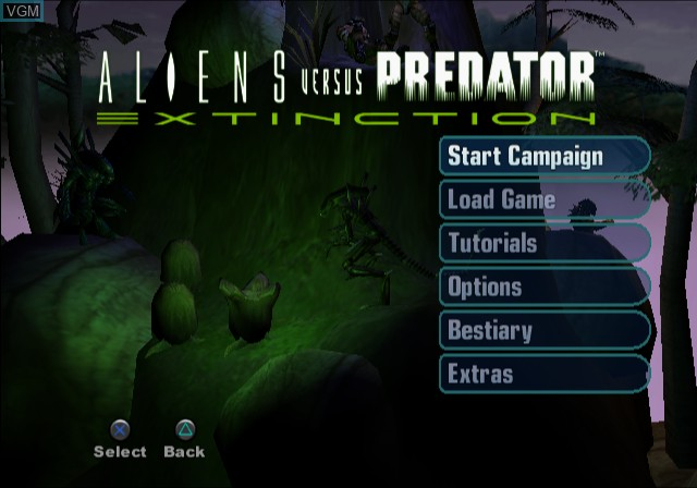 Menu screen of the game Aliens Versus Predator - Extinction on Sony Playstation 2