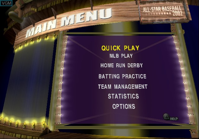 Menu screen of the game All-Star Baseball 2002 on Sony Playstation 2