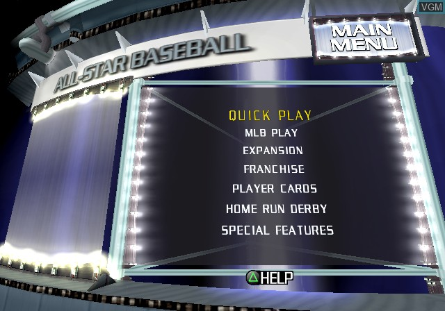 Menu screen of the game All-Star Baseball 2003 on Sony Playstation 2