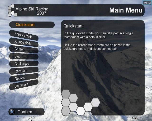 Menu screen of the game Alpine Ski Racing 2007 on Sony Playstation 2