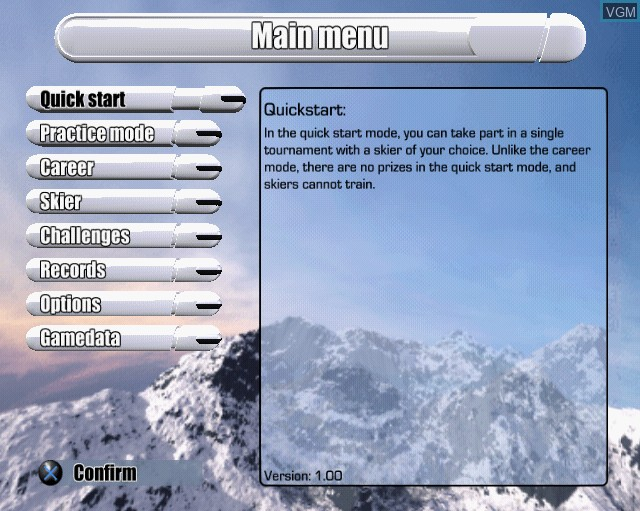 Menu screen of the game Alpine Skiing 2005 on Sony Playstation 2
