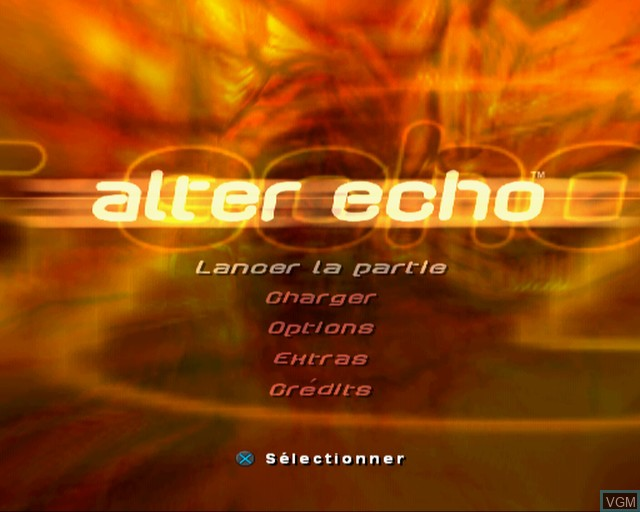 Menu screen of the game Alter Echo on Sony Playstation 2