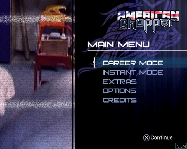 Menu screen of the game American Chopper on Sony Playstation 2