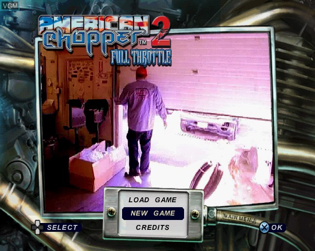 Menu screen of the game American Chopper 2 - Full Throttle on Sony Playstation 2