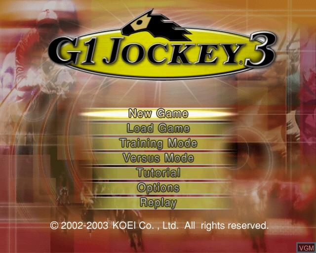 Menu screen of the game G1 Jockey 3 on Sony Playstation 2