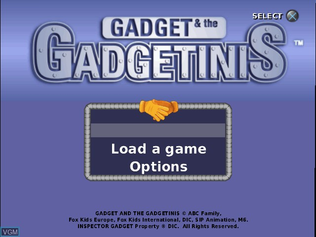 Menu screen of the game Gadget & the Gadgetinis on Sony Playstation 2