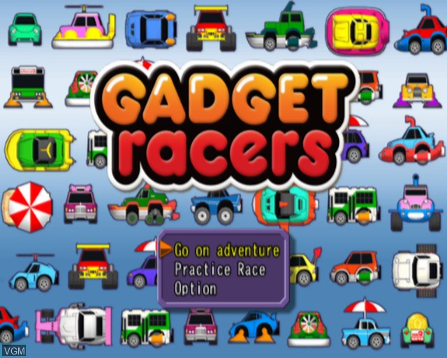 Menu screen of the game Gadget Racers on Sony Playstation 2