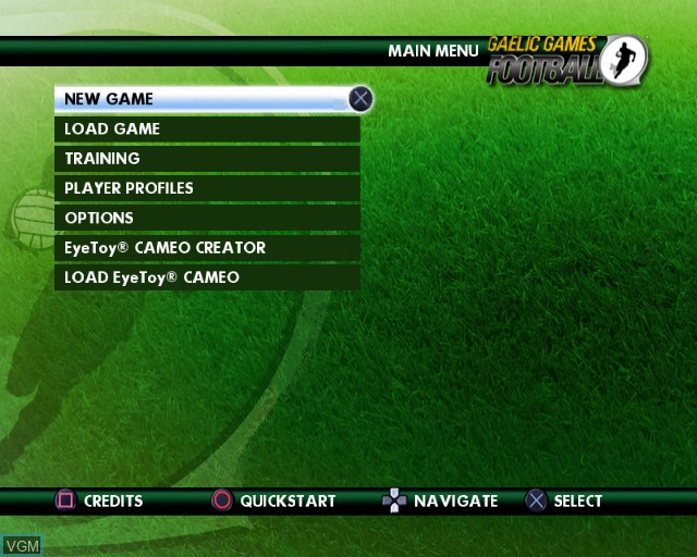Menu screen of the game Gaelic Games - Football on Sony Playstation 2