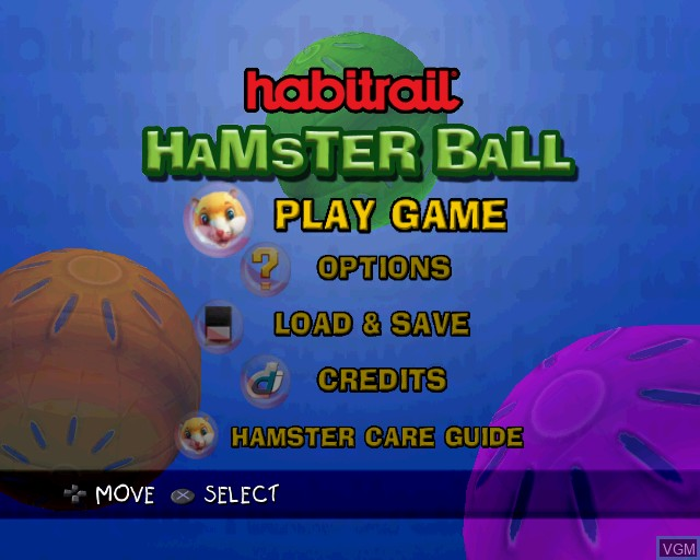 Menu screen of the game Habitrail Hamster Ball on Sony Playstation 2