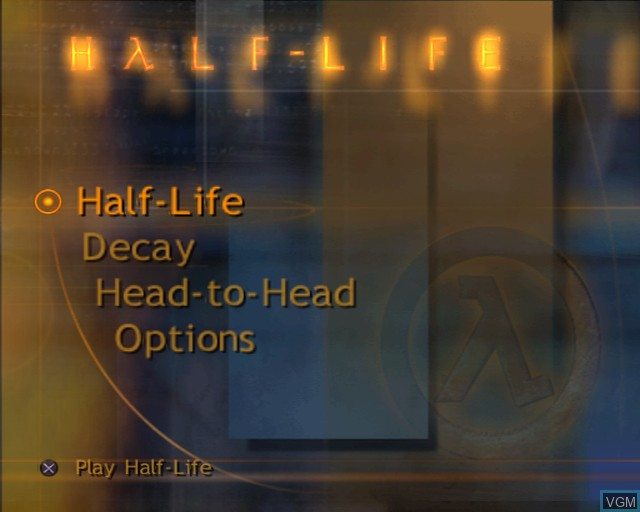Menu screen of the game Half-Life on Sony Playstation 2