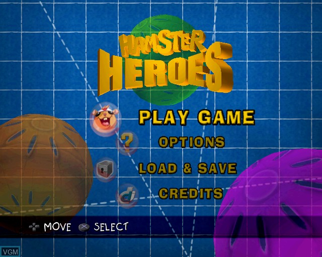 Menu screen of the game Hamster Heroes on Sony Playstation 2