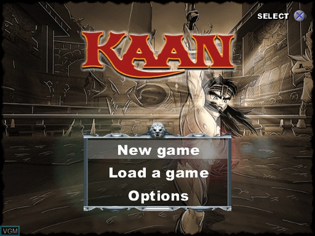 Menu screen of the game Kaan - Barbarian's Blade on Sony Playstation 2