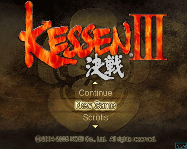 Menu screen of the game Kessen III on Sony Playstation 2