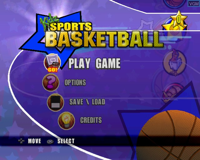 Menu screen of the game Kidz Sports Basketball on Sony Playstation 2