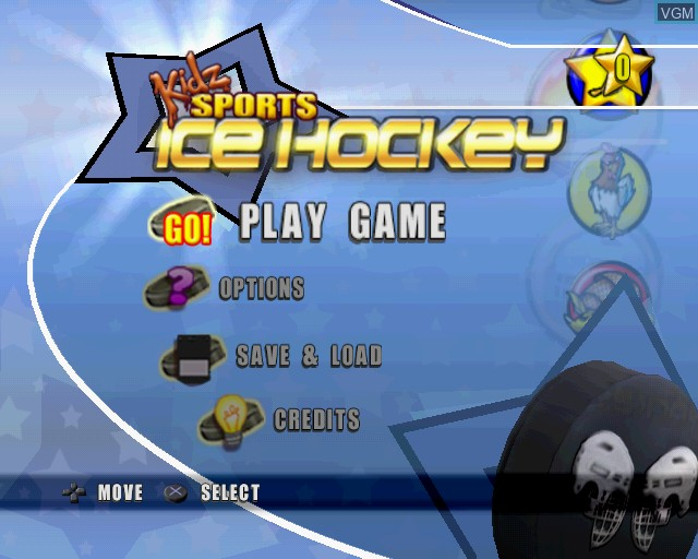 Menu screen of the game Kidz Sports Ice Hockey on Sony Playstation 2