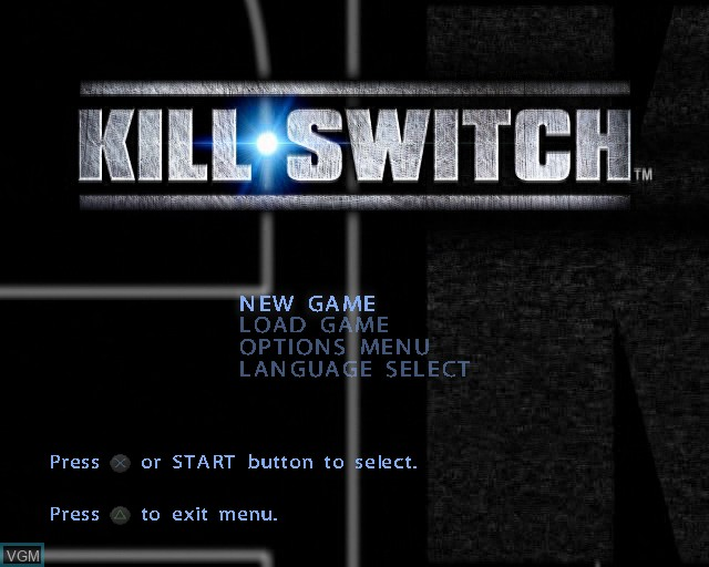 Menu screen of the game kill.switch on Sony Playstation 2