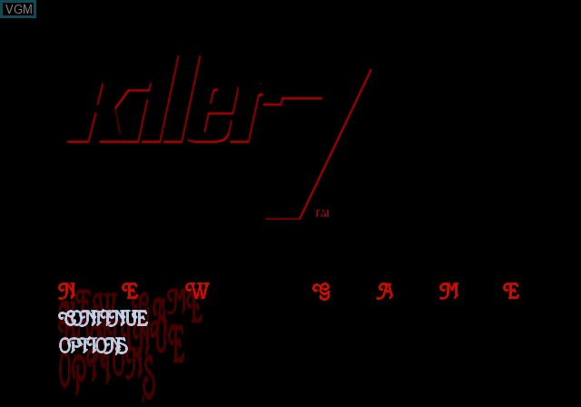 Menu screen of the game Killer7 on Sony Playstation 2