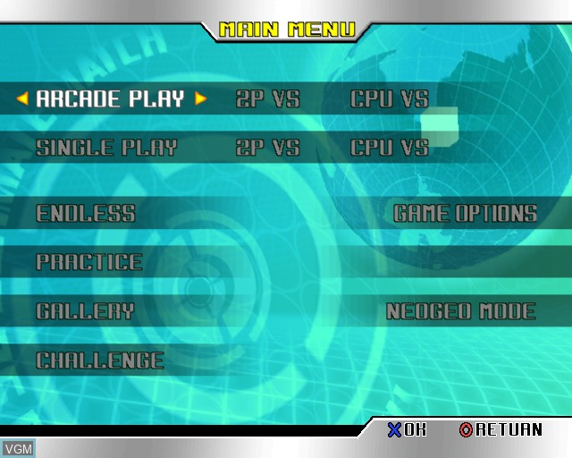 Menu screen of the game King of Fighters '98 Ultimate Match, The on Sony Playstation 2