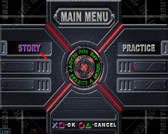 Menu screen of the game King of Fighters - Maximum Impact on Sony Playstation 2