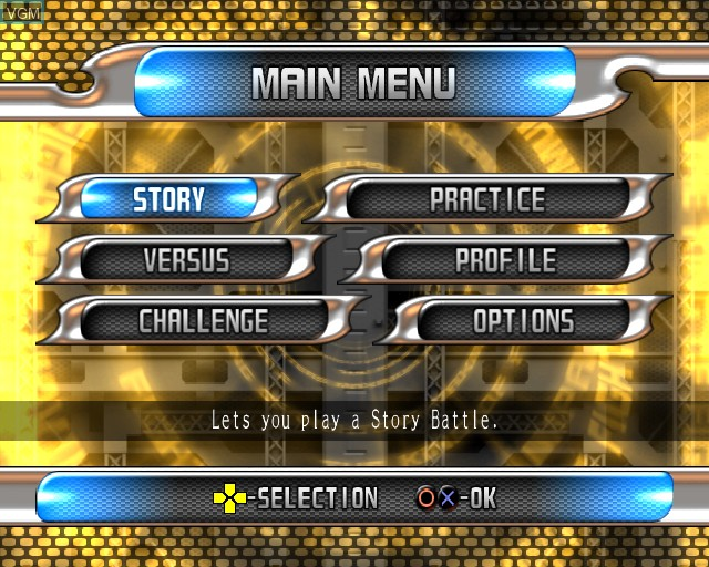 Menu screen of the game King of Fighters - Maximum Impact 2 on Sony Playstation 2