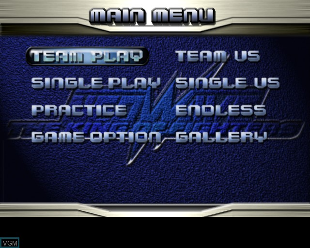 Menu screen of the game King of Fighters NeoWave, The on Sony Playstation 2