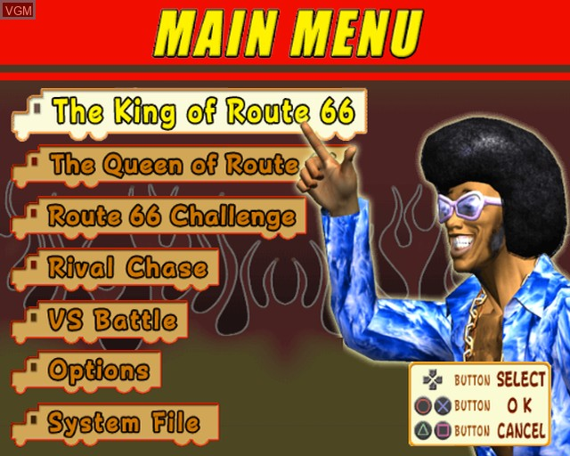 Menu screen of the game King of Route 66, The on Sony Playstation 2