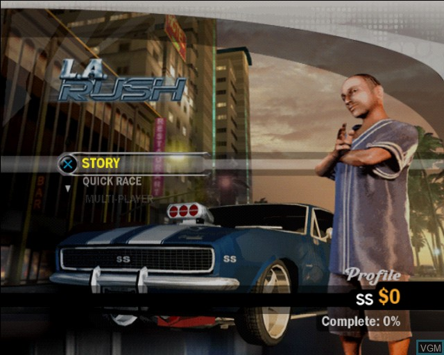 Menu screen of the game L.A. Rush on Sony Playstation 2
