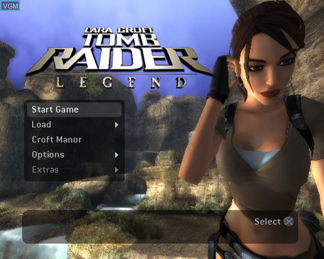 Menu screen of the game Tomb Raider - Legend on Sony Playstation 2