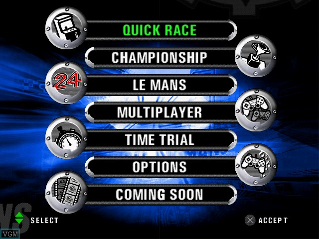 Menu screen of the game Le Mans 24 Hours on Sony Playstation 2