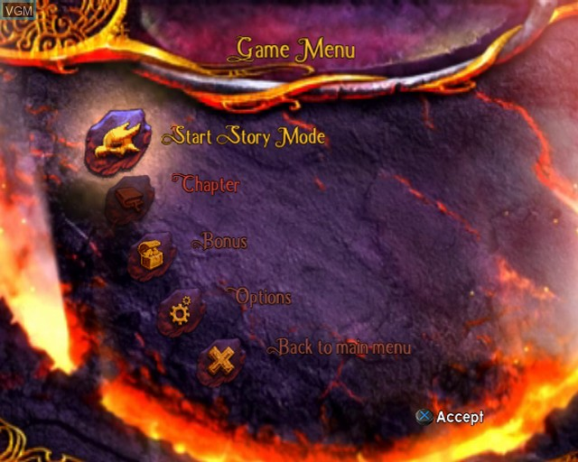 Menu screen of the game Legend of Spyro, The - Dawn of the Dragon on Sony Playstation 2