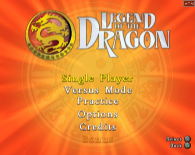 Menu screen of the game Legend of the Dragon on Sony Playstation 2