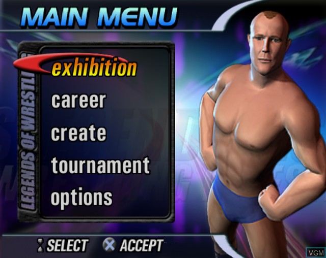Menu screen of the game Legends of Wrestling on Sony Playstation 2