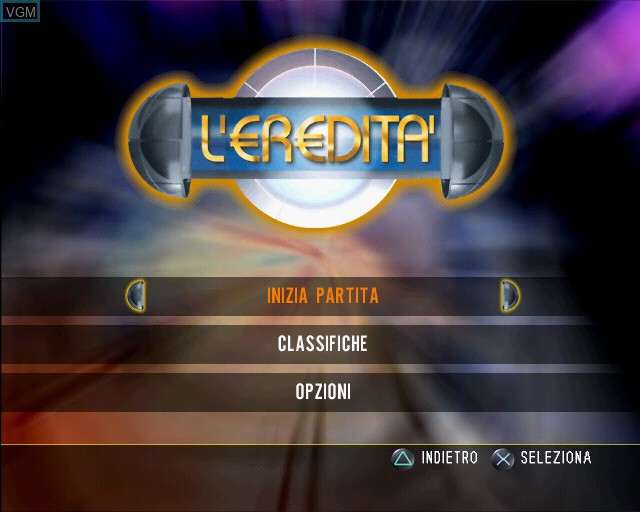 Menu screen of the game L'eredita on Sony Playstation 2