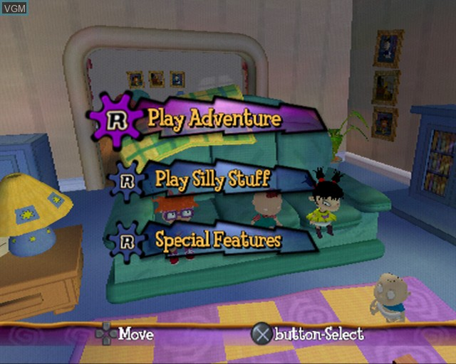 Menu screen of the game Rugrats - Royal Ransom on Sony Playstation 2