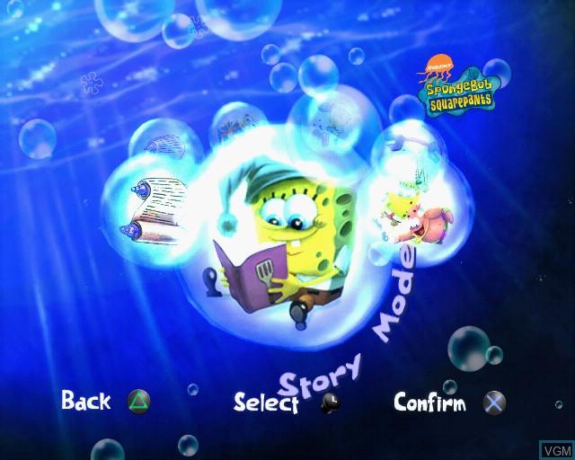 Menu screen of the game SpongeBob SquarePants - Creature from the Krusty Krab on Sony Playstation 2