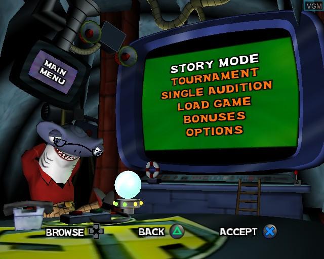 Menu screen of the game SpongeBob SquarePants - Lights, Camera, Pants! on Sony Playstation 2