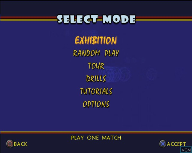 Menu screen of the game Outlaw Volleyball Remixed on Sony Playstation 2