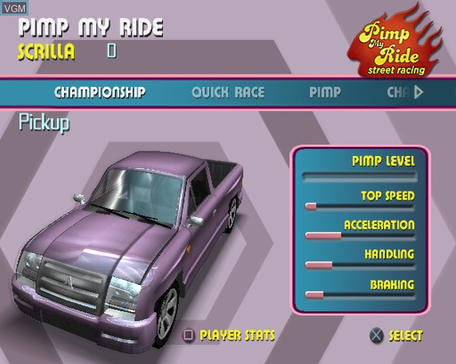 Menu screen of the game Pimp My Ride - Street Racing on Sony Playstation 2