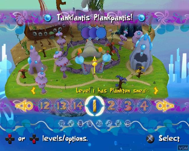 Menu screen of the game SpongeBob's Atlantis SquarePantis on Sony Playstation 2