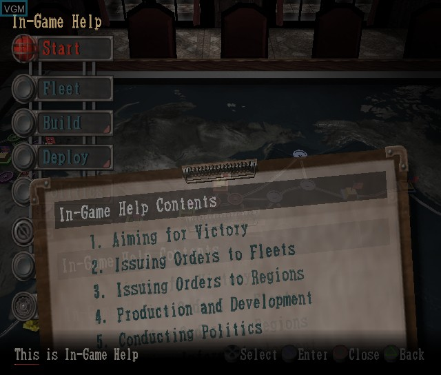Menu screen of the game P.T.O. IV - Pacific Theater of Operations on Sony Playstation 2