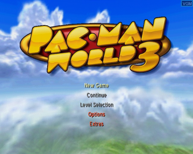 Menu screen of the game Pac-Man World 3 on Sony Playstation 2