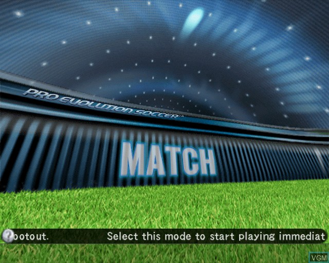 Menu screen of the game Pro Evolution Soccer 2008 on Sony Playstation 2
