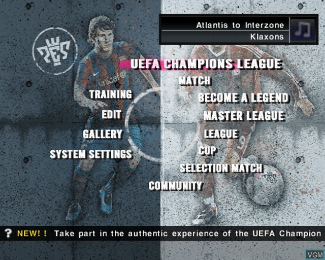 Menu screen of the game Pro Evolution Soccer 2010 on Sony Playstation 2
