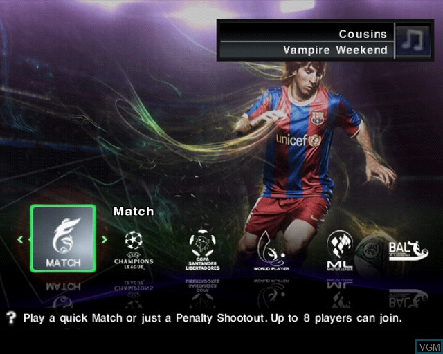 Menu screen of the game Pro Evolution Soccer 2011 on Sony Playstation 2